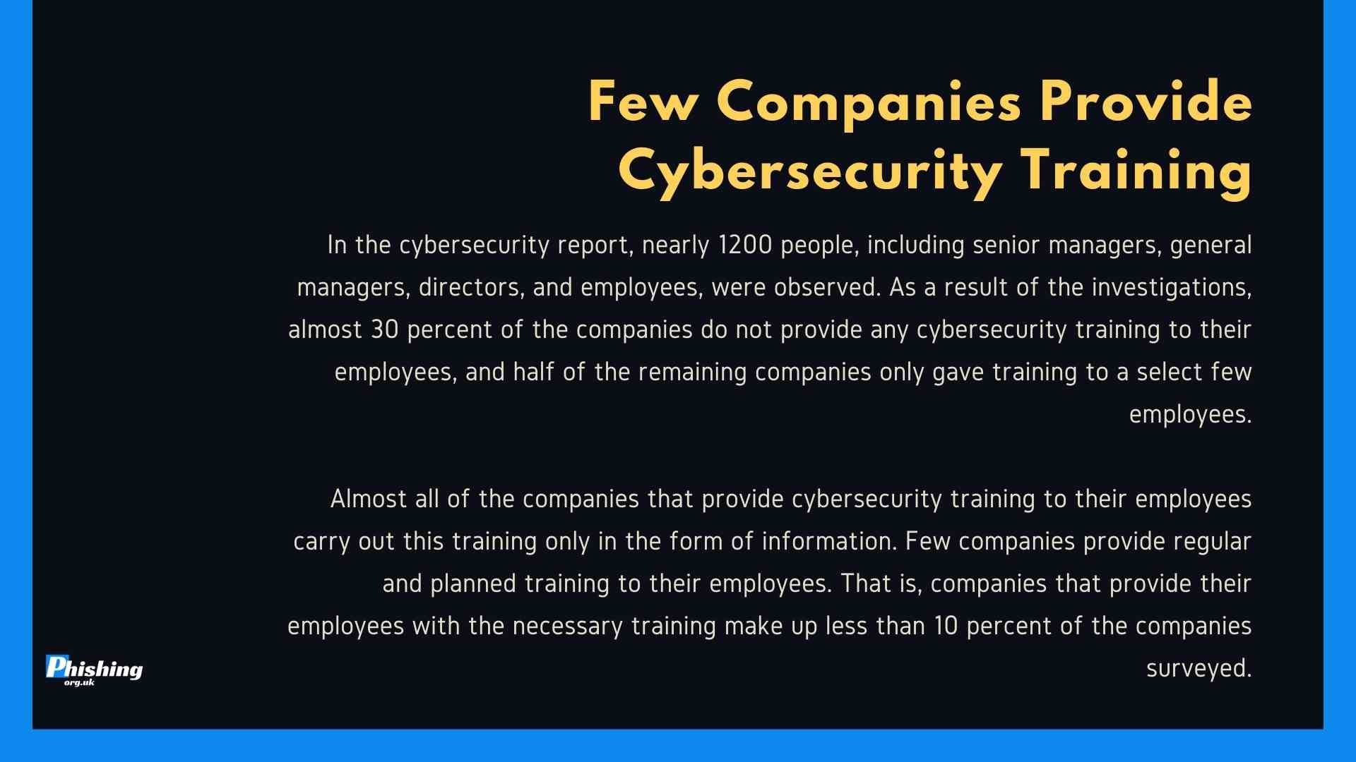 Few Companies Provide Cybersecurity Training